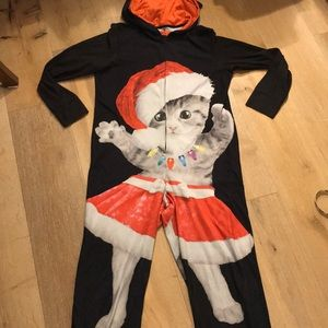 Justice size 16/18 xl child's Christmas cat onesie